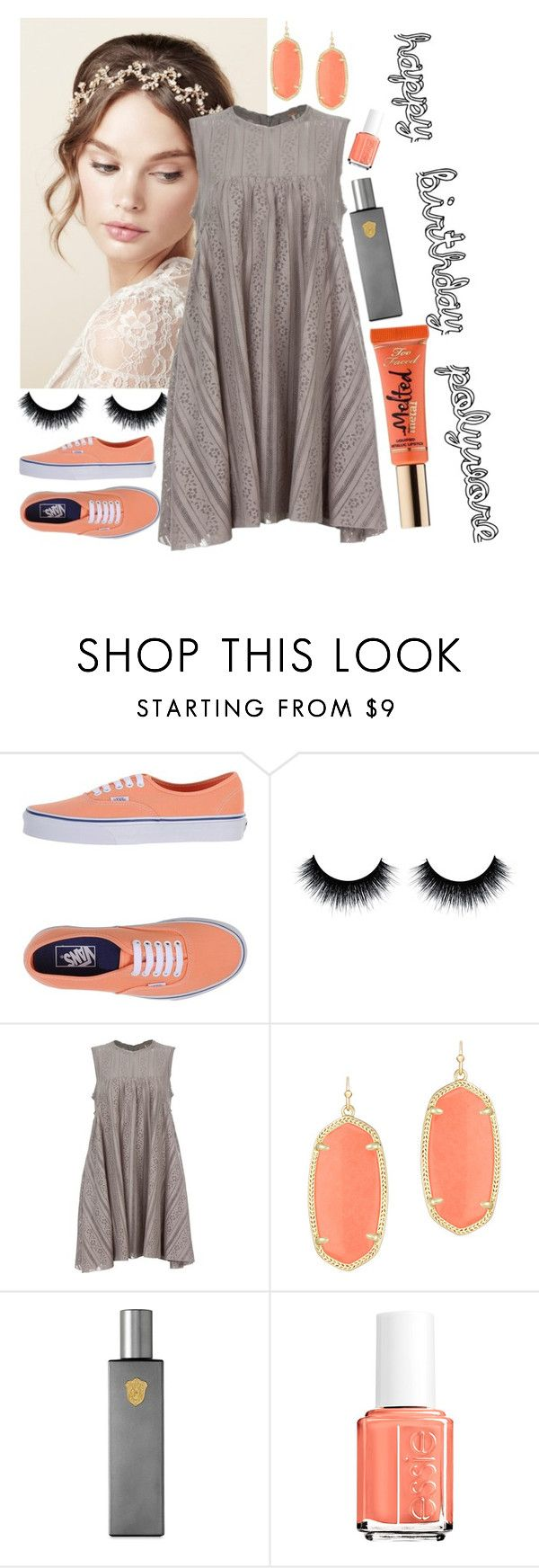 """""""coral cake"""" by soccer1938 ❤ liked on Polyvore featuring Vans, Free People, Kendra Scott, Régime des Fleurs, Essie, women's clothing, women, female, woman and misses"""