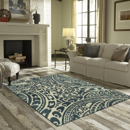 Better Homes and Gardens Paisley Stencil Area Rug or Runner, Blue