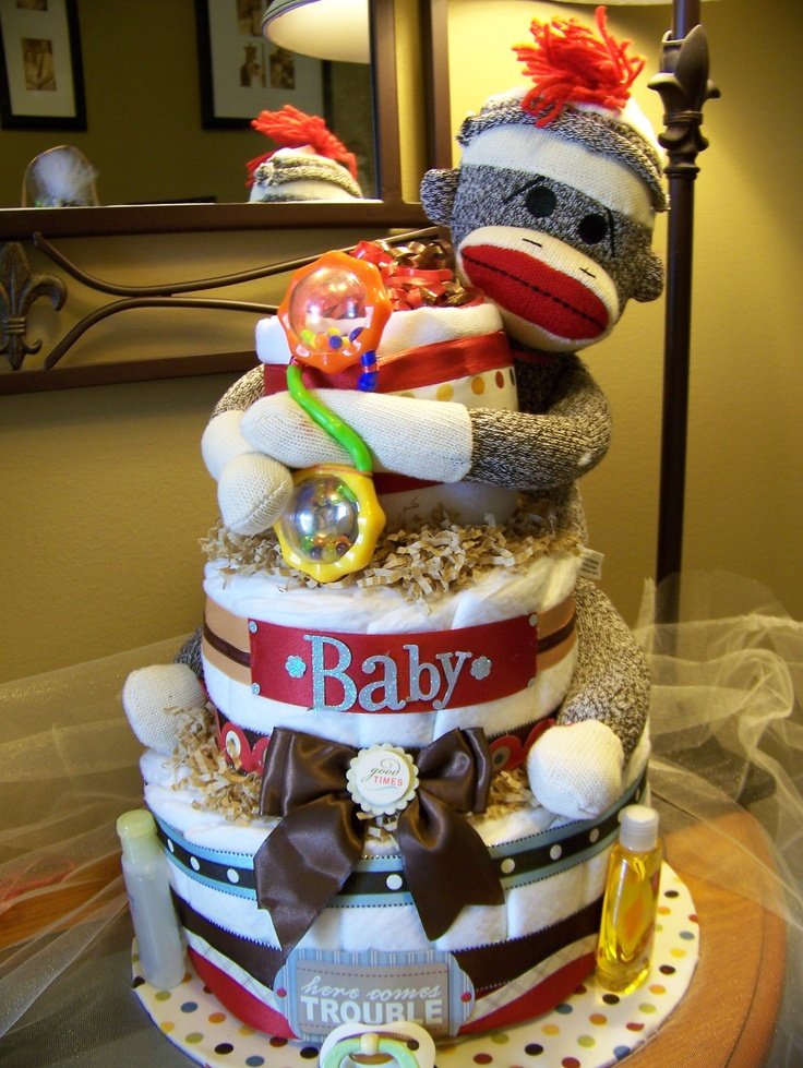 Neutral Sock Monkey Diaper Cake                                                                                                                                                     More