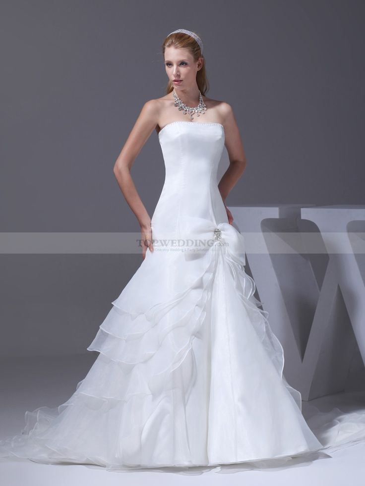 Pearled Strapless Mermaid Satin Wedding Gown with Tiered Skirt