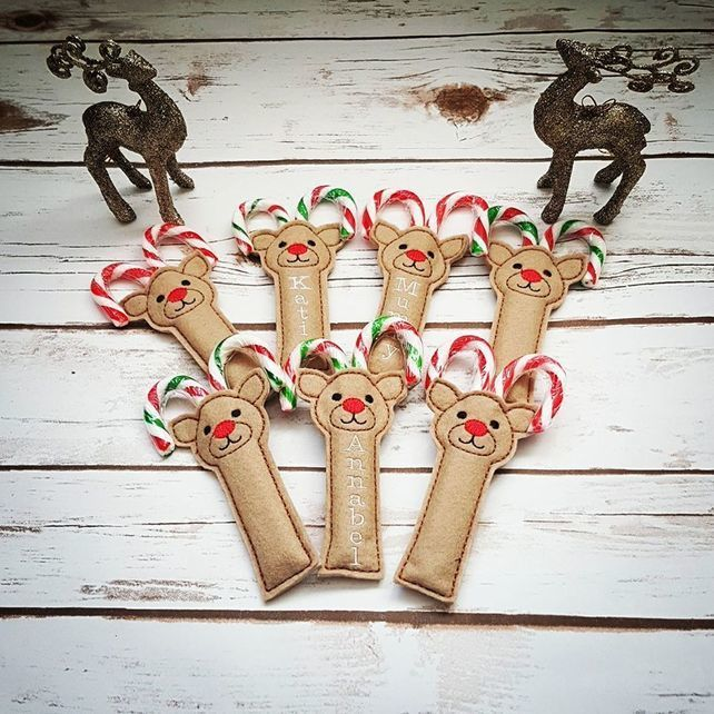 Reindeer Candy Cane Holder, Personalised Stocking Filler, Christmas eve box. £1.75