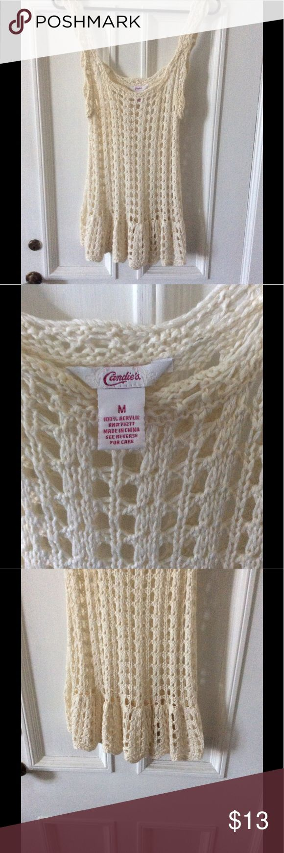 Candies crochet sweater tank M Super boho sweater tank with ruffled drop waist and scoop neck.  Layer it, wear it with a nude bandeau, or wear as a swim cover.  EUC! Candie's Tops Tank Tops