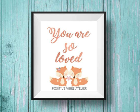 Nursery Print, You are so loved. Kids room poster. Woodland animals by PositiveVibesAtelier