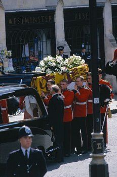 """Loading the hearse for the ride to Diana's burial site at her ancestral home, Althorp. A former soldier who helped to lower Diana, Princess of Wales' coffin into its final resting place said it was """"the greatest and the saddest honour"""" he had ever had. He added """"I'll never forget her sons' faces. That's a memory that will never leave me."""""""