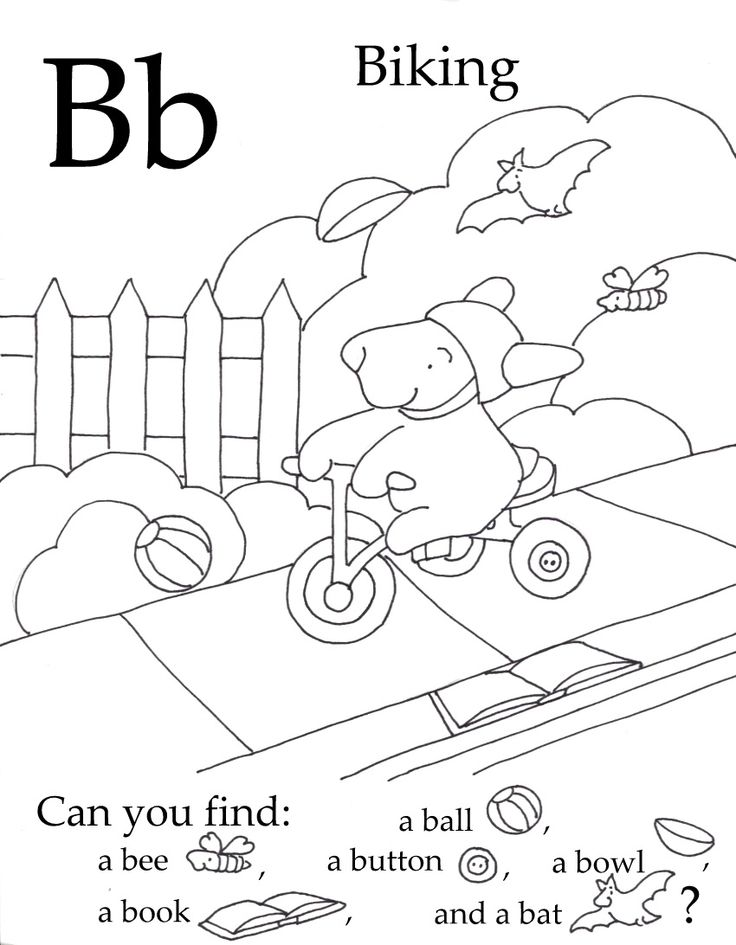 Free Preschool Printable. Color in the picture and find the hidden images. Notice thay all start with the letter featured in the seek and find.