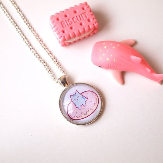 Cat Donut Jewellery  Cameo glass domed necklace by AdelaydeArt