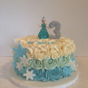 frozen themed buttercream ruffle cake - Google Search                                                                                                                                                                                 More