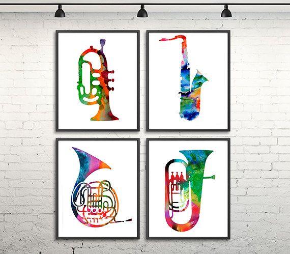 Instrumento musical, arte jazz, jazz cartel impresión, jazz, musica arte, cartel de música, trompeta, cuerno francés, tuba, saxofón CONJUNTO DE 4 IMPRESIONES Estas son láminas de alta calidad de mi pintura original en papel de acuarela de 240gsm o lona (para los tamaños más grandes). Tamaños disponibles se muestran en el seleccionar un menú sobre el botón Añadir al carrito desplegable tamaño. Si usted necesita otro tamaño, por favor en contacto conmigo. Por favor lea las políticas de la…