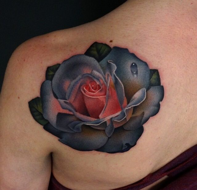 Bi-color rose by Andres Acosta (Red Dagger Tattoo, Houston, Texas)