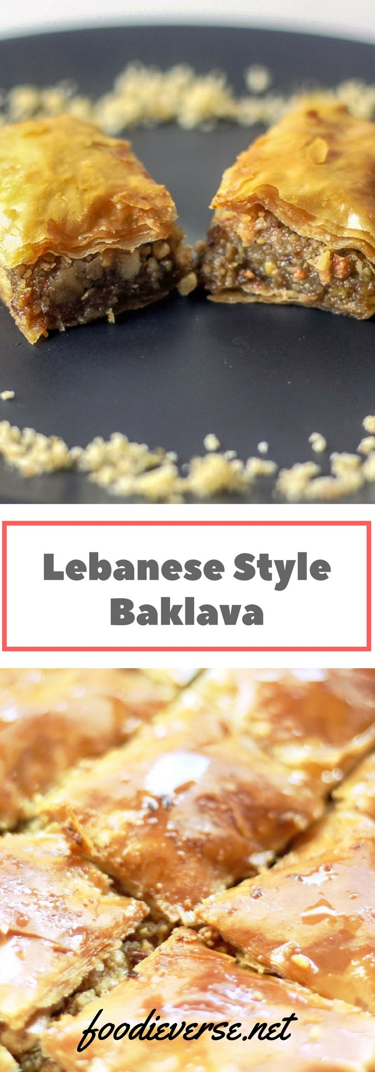 Lebanese style baklava filled with walnuts and pistachios, covered in orange blossom water sugar syrup. This is a quick baklava recipe requiring drizzled butter and ghee instead of brushing each phyllo pastry sheet.