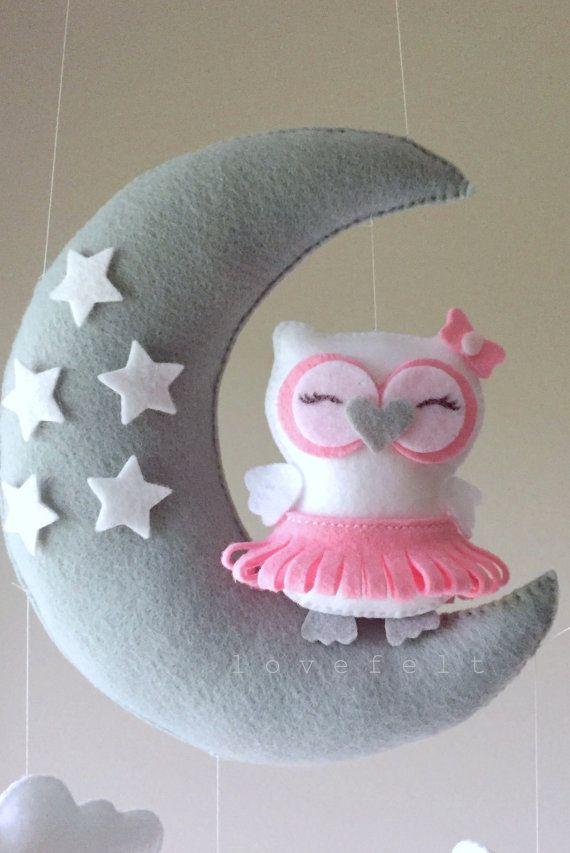 Baby mobile - Owl mobile - ballerina mobile - pink gray mobile