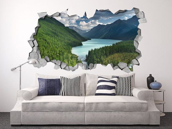 River And Mountains   Broken Wall   Wall Stickers   Wall Art   Wall Sticker    Wall Decal   Wallpaper   Wall Decals  SKU: Part 48