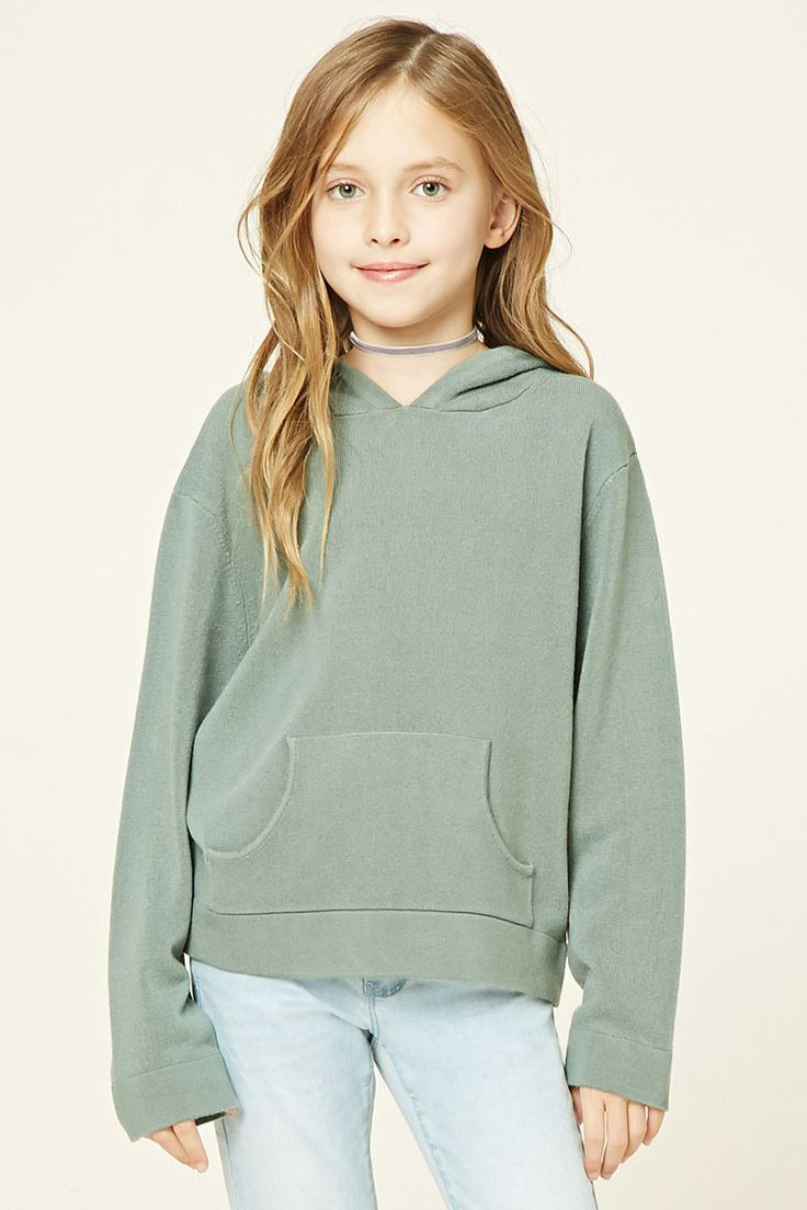 Forever 21 Girls - A ribbed knit sweater hoodie featuring a kangaroo pocket, long sleeves, and ribbed trim.