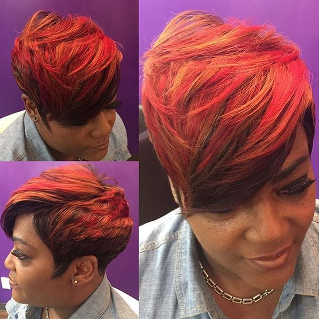 STYLIT FEATURE| Gorgeous color  on this #pixie ✂️ sew in by #indystylist @bdavishaircare  Looks so natural  #voiceofhair ========================== Go to VoiceOfHair.com ========================= Find hairstyles and hair tips! =========================
