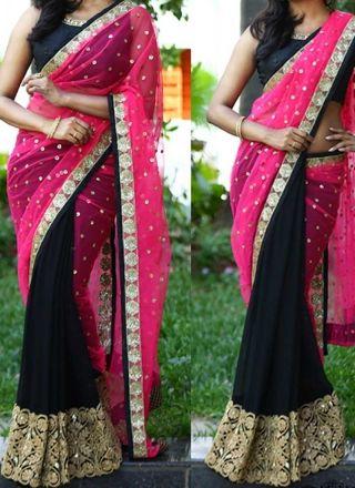 Pink Black Embroidery Work Georgette Net Designer Party Wear Half Sarees http://www.angelnx.com/Sarees/Designer-Sarees