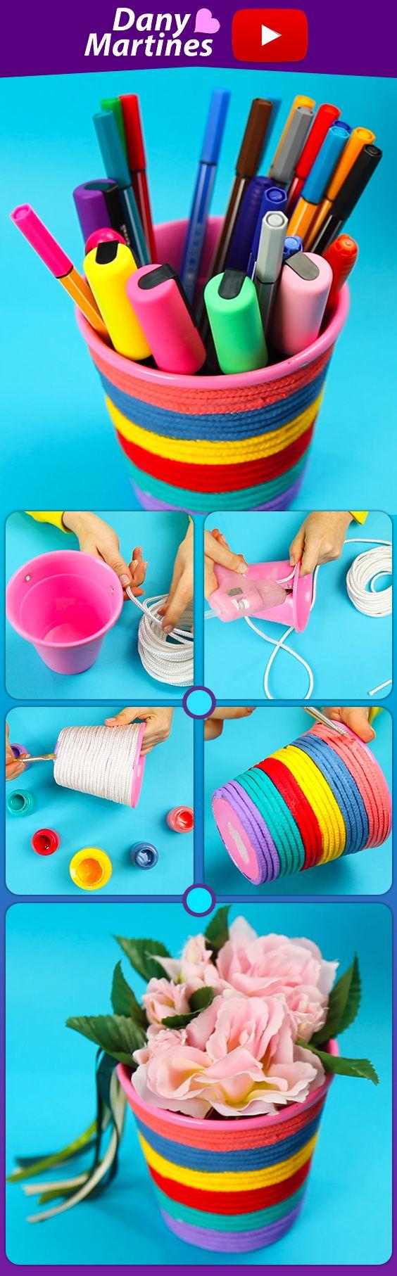 Faça Você mesmo um porta canetas, ou um vaso lindo colorido de arco íris, lindo demais , DIY, Do it yourself