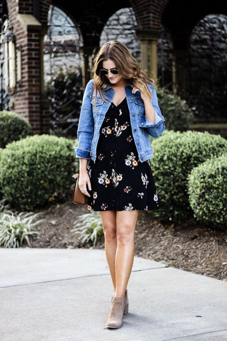 Little Black Floral Dress Basically Bronwyn Jacket Outfit Women Denim Jacket Women Denim Jacket With Dress [ 1104 x 736 Pixel ]