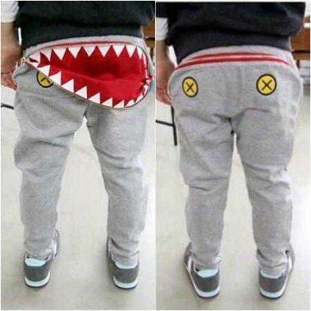 Kids Harem Shark Attack Pants | unisex | Black & Grey $16.99