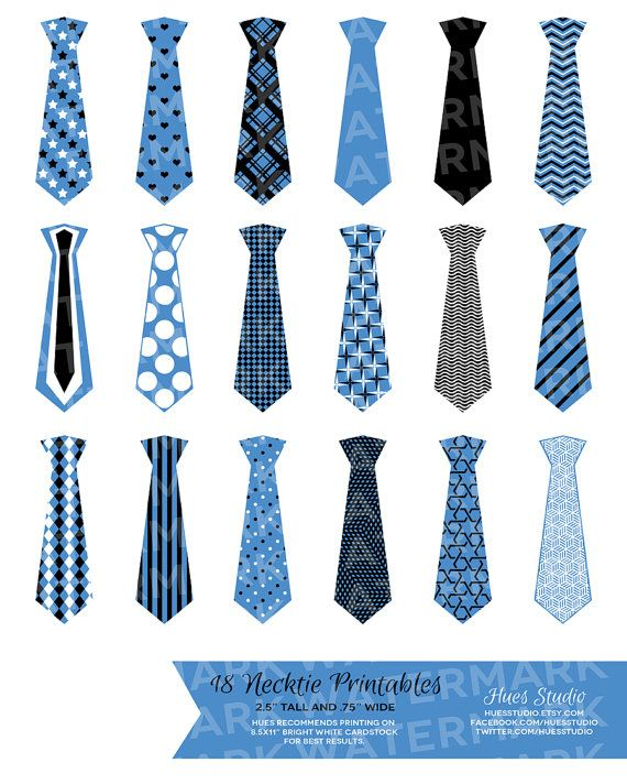 18 Blue Black and White Neckties : Tags / Labels / Cupcake Toppers / Decor / Instant Download - Hues Studio