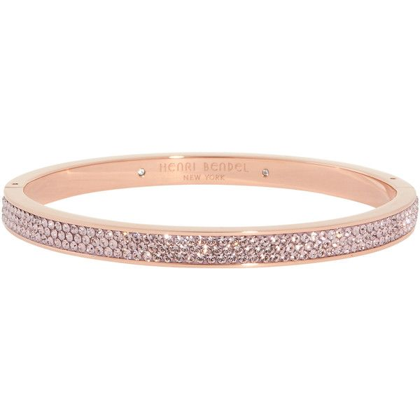 Henri Bendel Bendel Rox Skinny Bangle ($128) ❤ liked on Polyvore featuring jewelry, bracelets, accessories, rose, rose jewelry, swarovski crystal jewelry, steel bangle, henri bendel and henri bendel jewelry