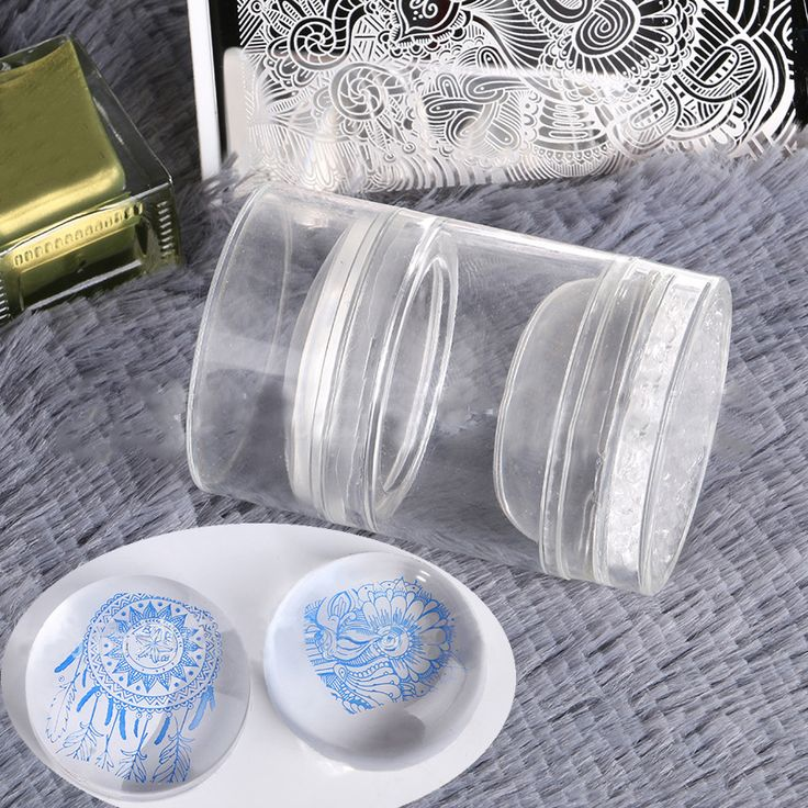 1 Pc Dual XL Clear Jelly Nail Art Stamper Silicone Head with Rhinestone Cap & 2 Scrapers Manicure Nail Art Stamping Tool Set