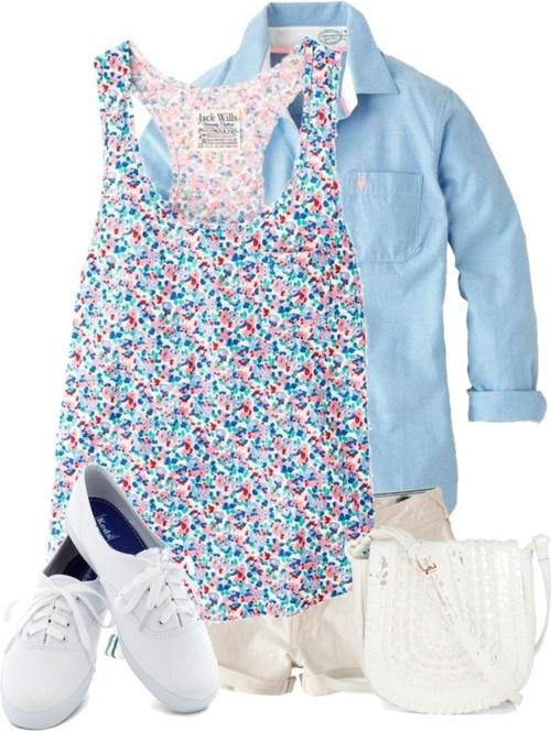Jack Wills embroidered shirt / Jack Wills v neck shirt / Jack Wills cotton shirt / Jack Wills hot jean shorts / Keds lacing shoes / Zip bag