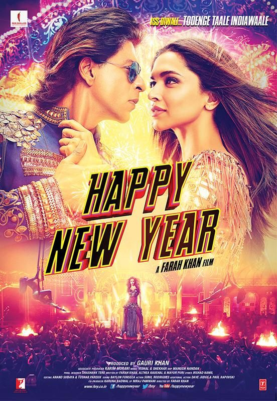 Happy New Year (2014). Gotta give it to this movie for bright lights and colourful scenes. Love the funny bits, but yet again, no memorable songs.