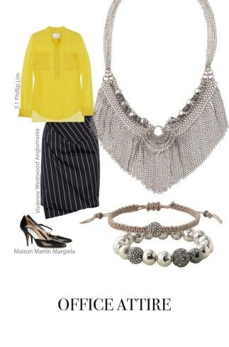 At the Office: Our Stevie necklace is a great way to show off the fringe trend, simply wear it over a button down top in a bright hue and pair with a professional pencil skirt for an office-friendly look. Round out your accessories by stacking the Sole & Moondance stretch bracelets! http://www.stelladot.com/sites/outersparkle