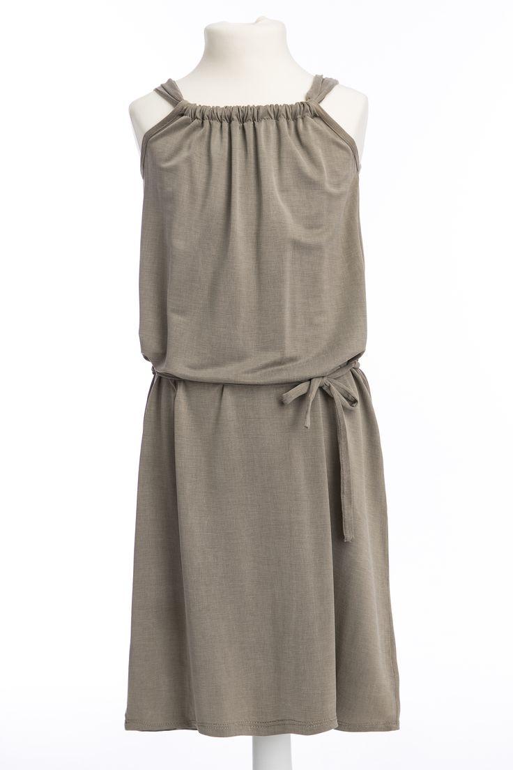 Maxi dress for girl made from Viscose Cupro #dressforgirl #beige #sukienkadziecięca