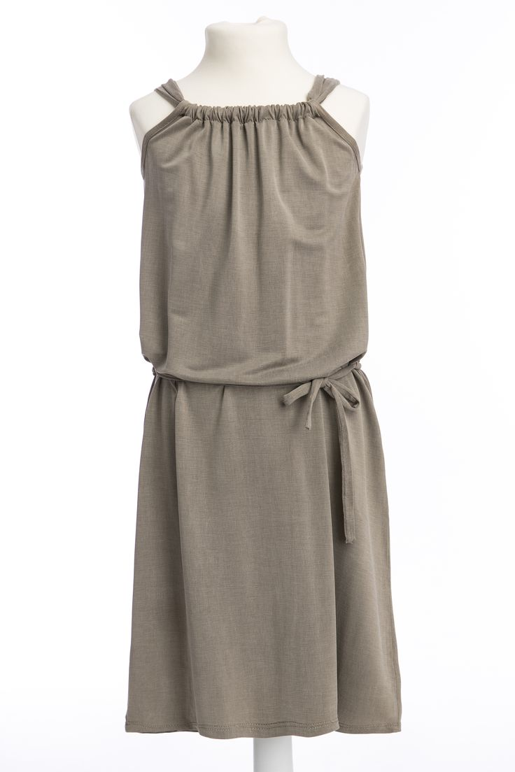 Maxi dress for girl made from Viscose Cupro #dressforgirl #beige #sukienkadziecięca