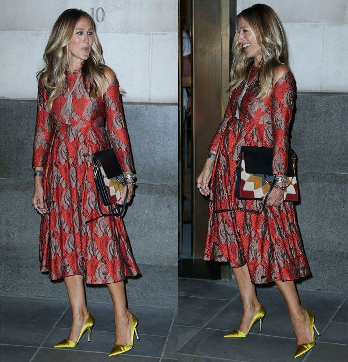 "Sarah Jessica Parker attends and leaves her Fragrance ""Stash"" launch party in London on September 13, 2016"