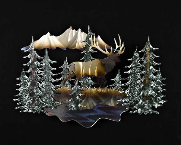 Metal Wall Art Rocky Mountain Morning At Lights In The