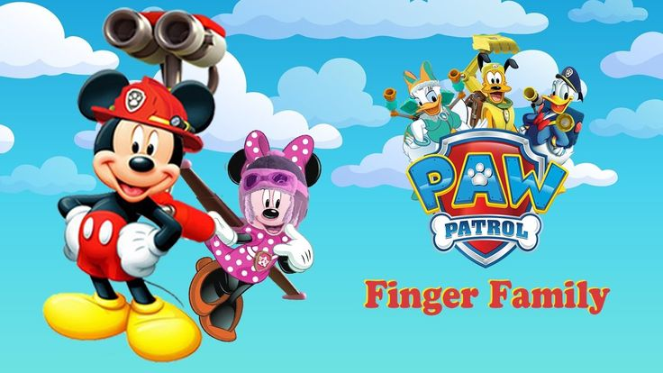 Mickey Mouse Transform Paw Patrol Finger Family With Lyrics  Mickey Mous...