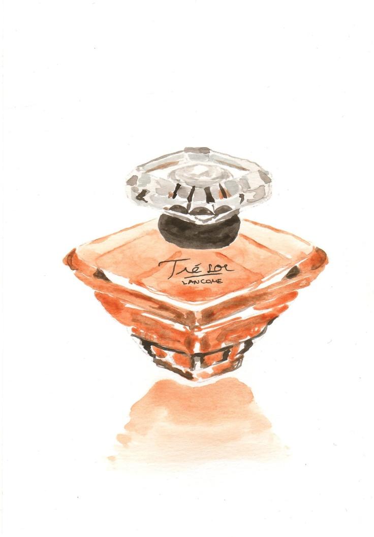 PROJECT LIFE CARD IDEA - Perfume bottle illustration - Lancome Trésor Parfum Fragrance.