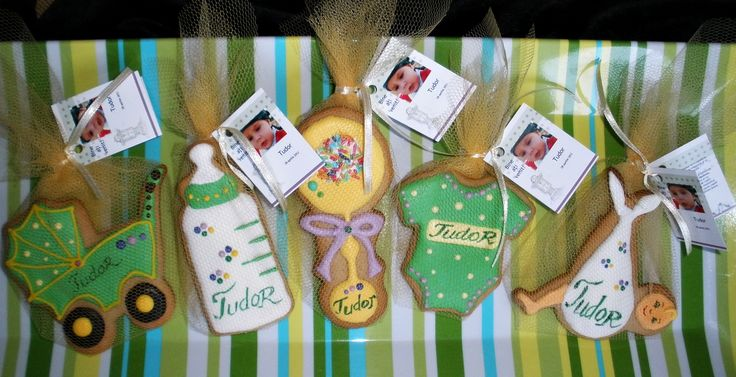 Baby boy cookie favors for a Christening party