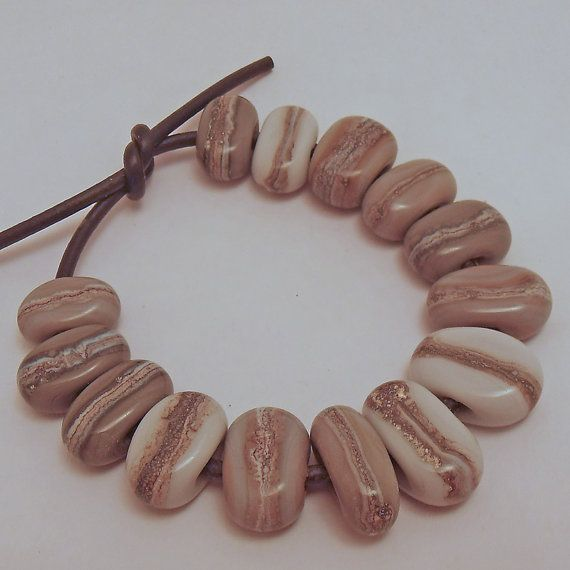 Organic Pebble Glass Beads in Neutral Tones Grey by ALittleTrinket, £9.00
