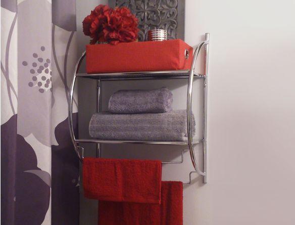 support mural pour serviettes avec tablettes et supports horizontaux accessoires de salle de bain - Tablette Retro Salle De Bain
