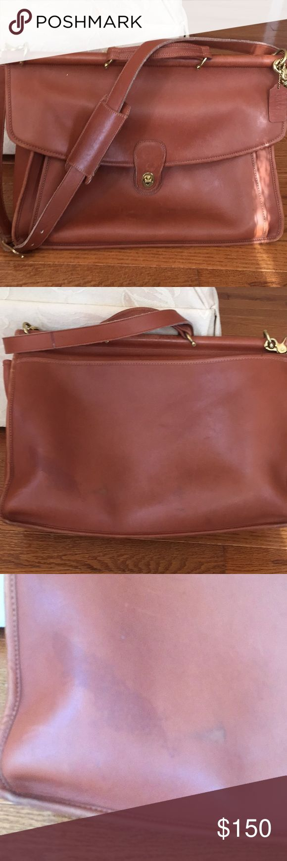 "COACH VINTAGE BRIEFCASE/LAPTOP BAG! Gorgeous vintage COACH briefcase! Measures 16 x 13""! Base measures 4 1/2"" wide! It has some wear please see pictures! This is a vintage bag so it has imperfections & wear! It adds to the bag! Coach Bags Laptop Bags"
