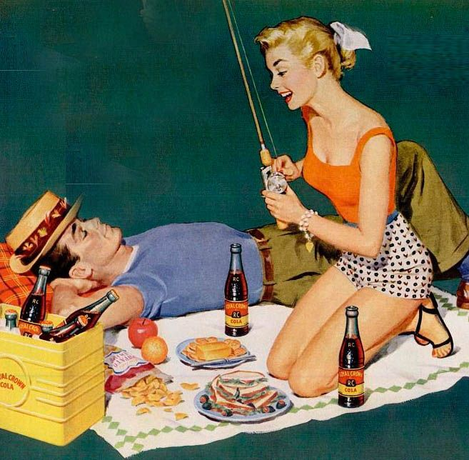 Kind of reverse on our fishing trips, I'm usually laying down lol , but always beverages & food!