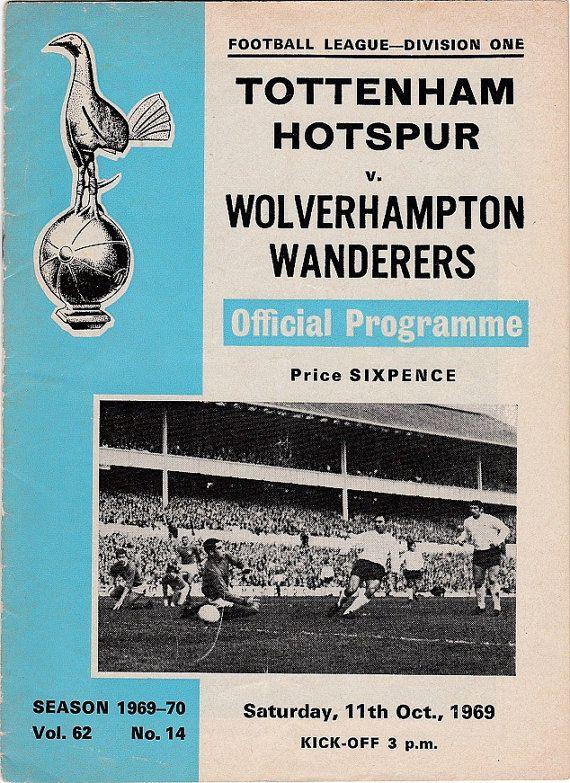 Vintage Football (soccer) Programme - Tottenham Hotspur v Wolverhampton Wanderers, 1969/70 season #football #soccer #tottenham #spurs