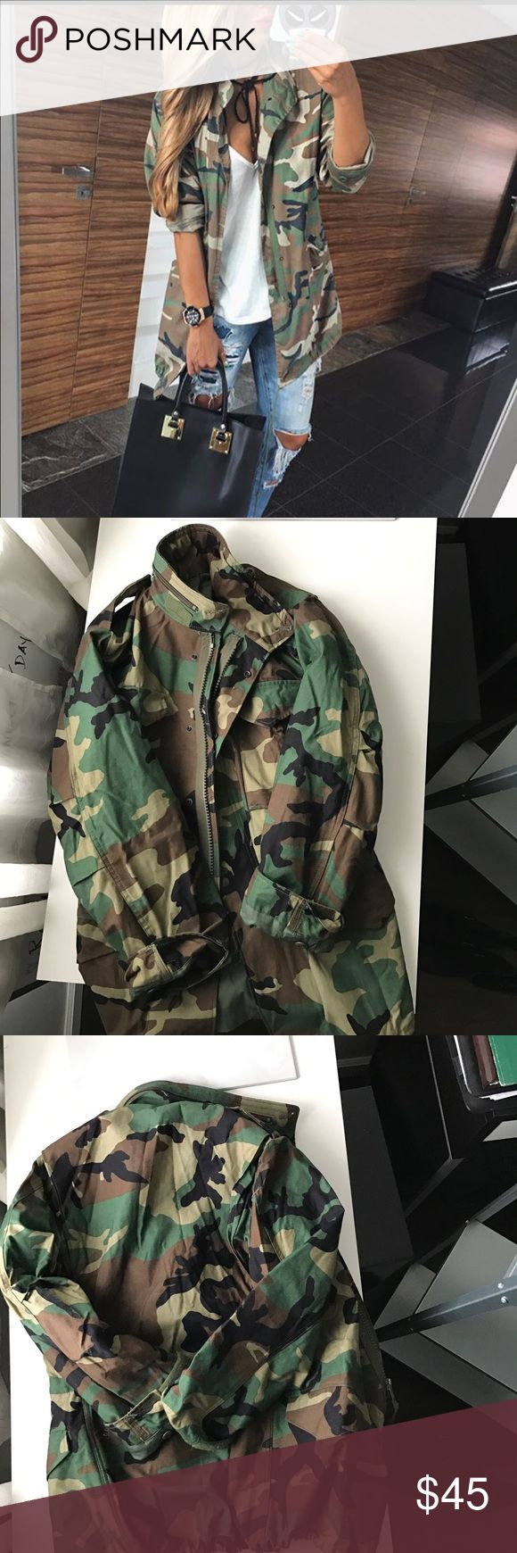 Camouflage Military Field Jacket Camouflage Military Field Jacket. Size XS. Please look at pic that shows height and weight requirements for this size. Brand new. Never worn. Feel free to decorate with your own fashionable patches. NWOT Jackets & Coats