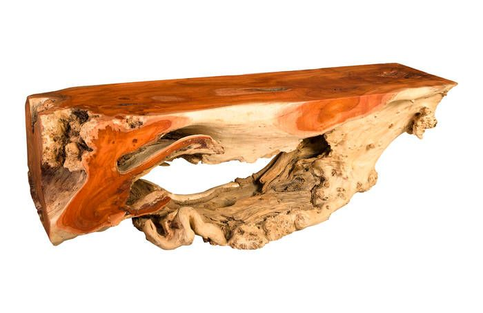 TH80420 / Mai Theng Burled Wood Bench