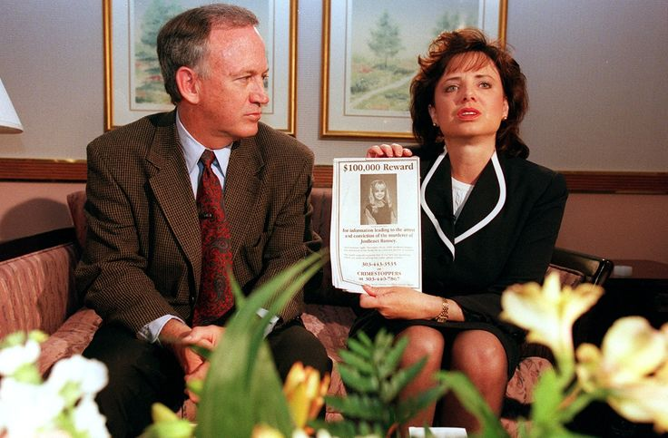 BOULDER, CO - MAY 01:  John and Patsy Ramsey, the parents of JonBenet Ramsey, meet with a small selected group of the local Colorado media after four months of silence  in Boulder, Colorado on May 1, 1997. Patsy holds up a reward sign for information leading to the arrest of their daughter's murderer.  Their 6-year-old daughter was found dead on Christmas night 1996. (Photo By Helen H. Richardson/ The Denver Post) via @AOL_Lifestyle Read more…