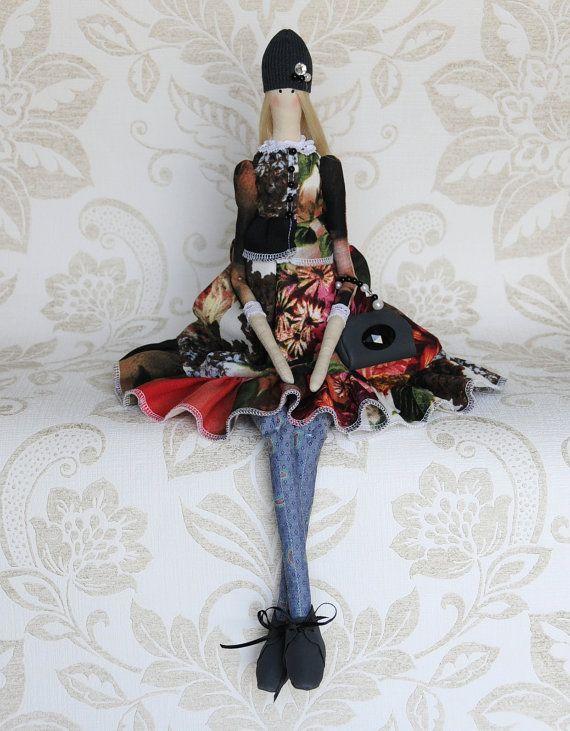Handmade Tilda Doll - Beauty floral dress cloth doll - tilda Evdokiya
