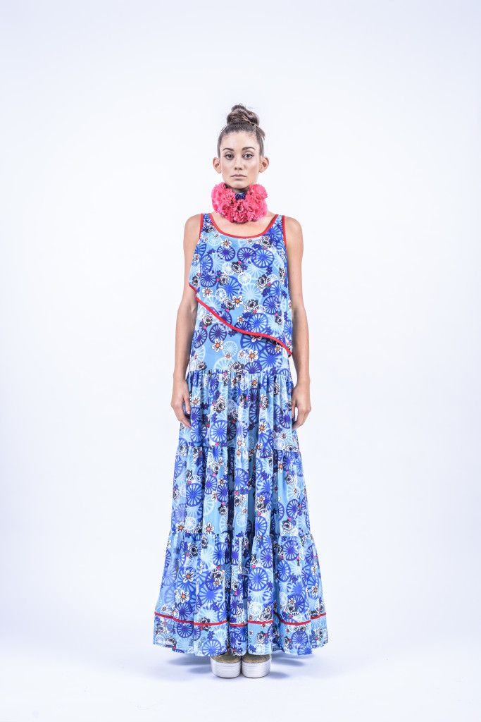 Romani Design, ss17, wanderers of the worlds, roma, gypsy, stripes, striped, floral, print, rose, roses, fashion, flower, flowers, outfit, spring, summer, dress, maxi, asymmetry, asymmetrical, top, ruffles, ruffle