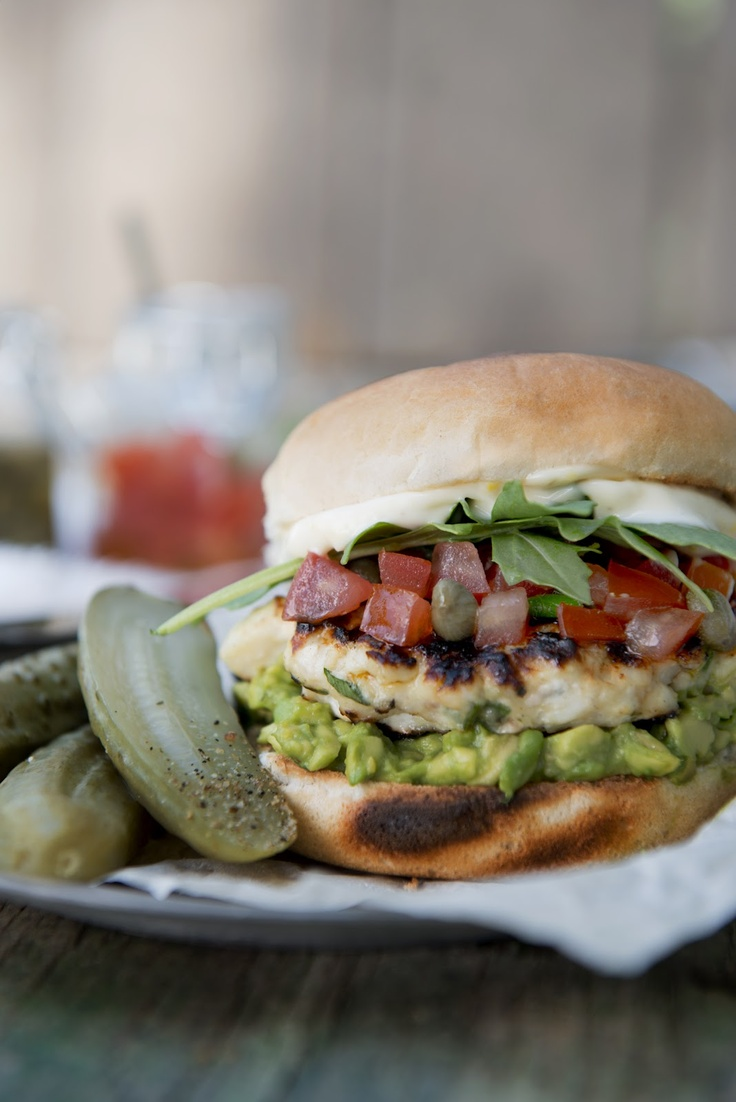 Swordfish Burger with Avocado Spread, Tomato Topping and Lemon ...