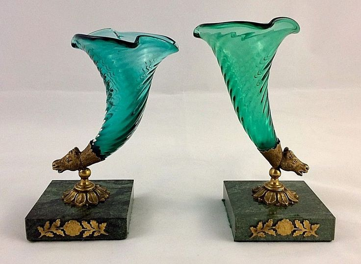 Cornucopia Glass Vases with Gilt Horse Head Mounts & Marble Bases