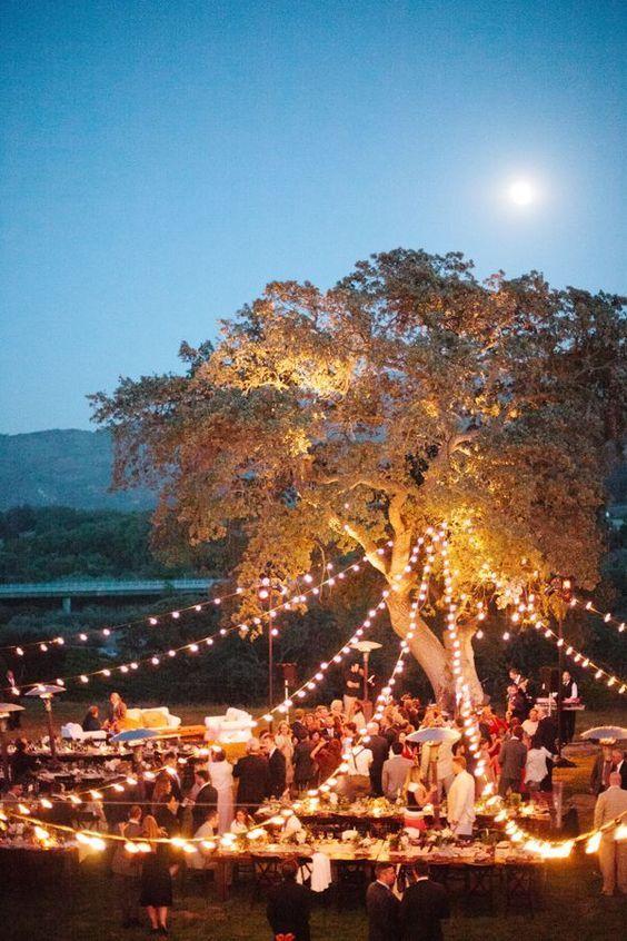 rustic outdoor wedding decor with eclectic light / http://www.deerpearlflowers.com/romantic-wedding-lightning-ideas/