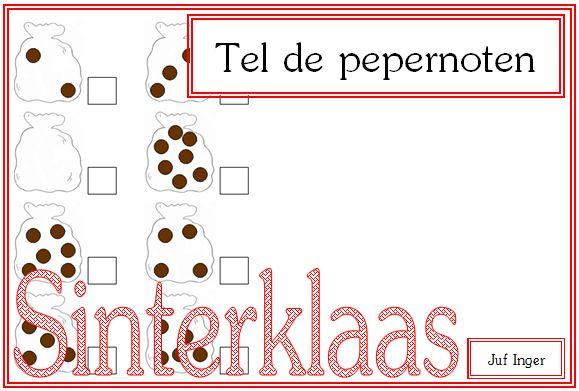 Tel de pepernoten in de zak van Piet - Juf Inger