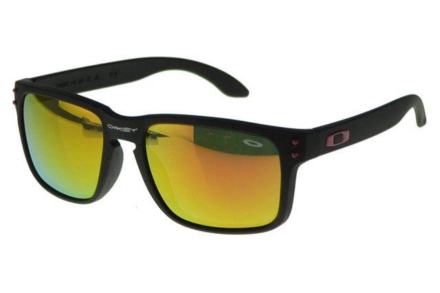 Wholesale Cheap Oakley Holbrook Sunglasses Black Frame Yellow Lens 2141#Oakley Sunglasses